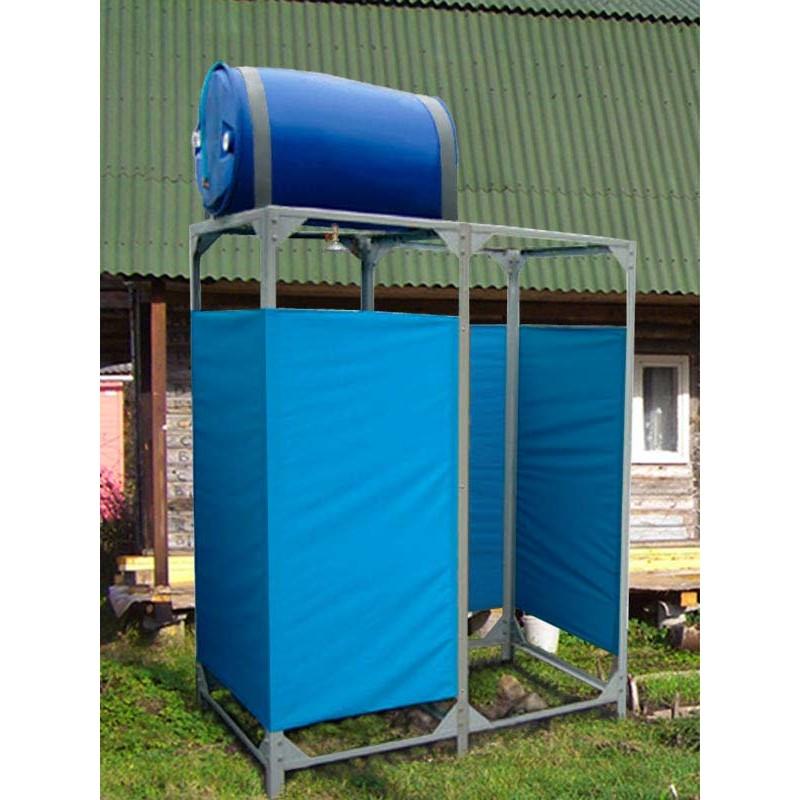 Дачный летний душ с подогревом, обтяжкой и раздевалкой (220 л)